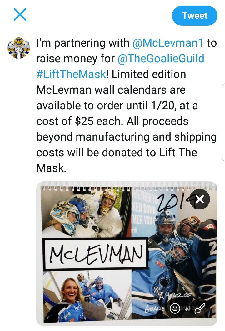 This is the last weekend to get your orders in for the @McLevman1 calendar to benefit @TheGoalieGuild #LiftTheMask!  @lilneumy @MandyLeveille29 @BrianneMcL