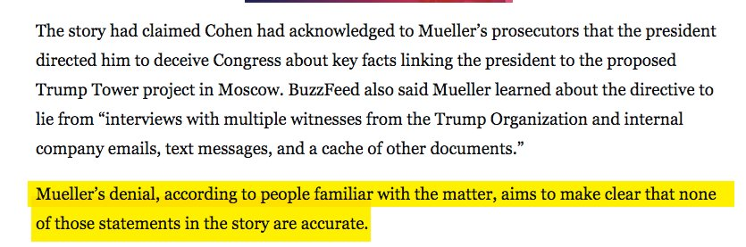 As I said, it couldn't be clearer Mueller was disputing *the key parts of the BF story* - the only parts that made it notable (eg he had evidence proving Trump directed Cohen to lie). But here's separate WashPost reporting that this is what Mueller deniehttps://t.co/MvWGCXOLbfd