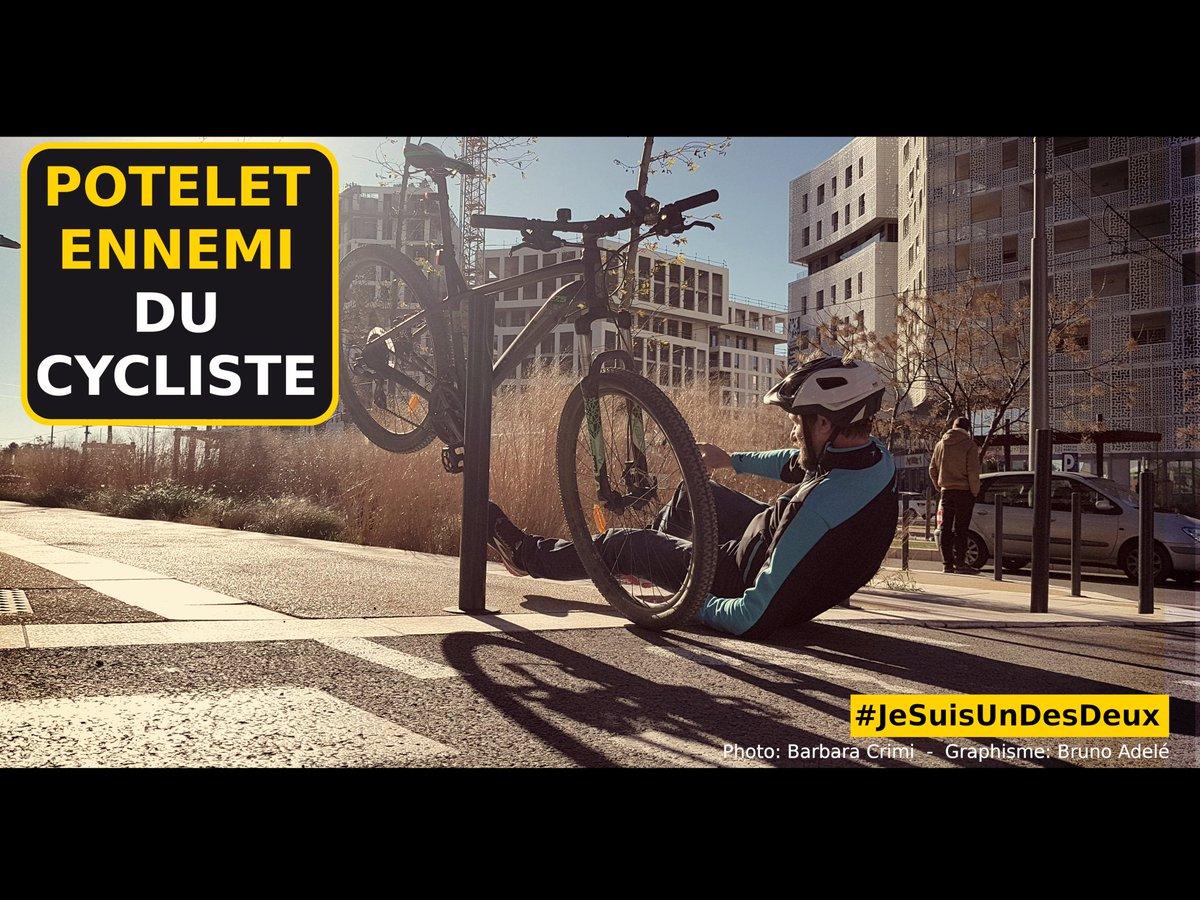 Le potelet ennemi du cycliste  cc @VelociteMtp @montpellier_ @Montpellier3m   Merci à @aurorologue pour sa photos et la communauté #JeSuisUnDesDeux