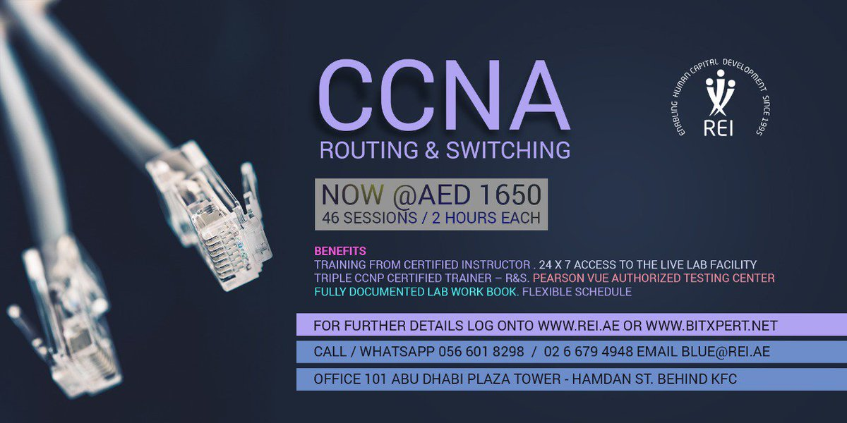 Enroll Now for #CCNA R&S #Routing & #Switching (200-125).! The Next #Batch is Starting from Jan 21st Monday.! 24 x 7 access to the Live #Lab facility  #PEARSONVUE TESTING CENTER Fully Documented Lab Work Book Feel Free to Contact : 0566018298 #ccna #rns #routing #switching #ccnp