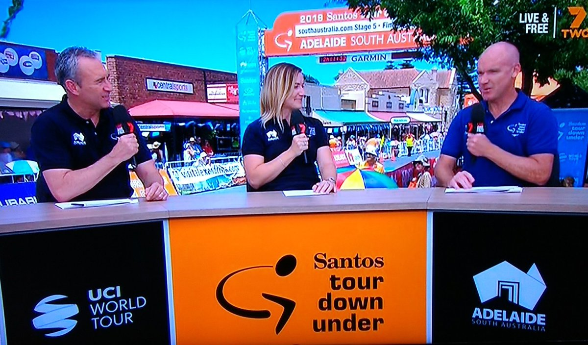 Great to see @StueyOG on the mike as @MummuCycling #champion with @MarkBeretta and @AnnaMeares @tourdownunder in #adelaide... #goodonoldtony Phew! Now, back to the race