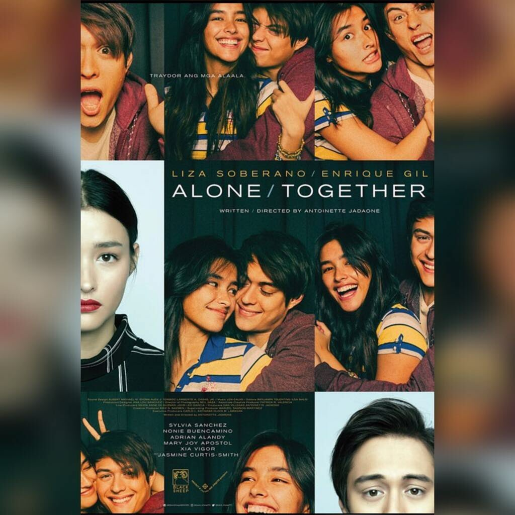 "LOOK: Poster for LizQuen's upcoming Valentine movie ""Alone/Together""."