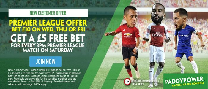 PaddyPower #football #PremierLeague BET £10 ON WED, THU OR FRI New custom place a single €/£10 Sports bet on Wed, Thu or Fri get a €/£5 free bet for every 3pm EPL game Sat 19th Free bets specified matches only.. T&C's Apply. 18+|Gamble Aware Claim➡️http://bit.ly/ppfoot3pm