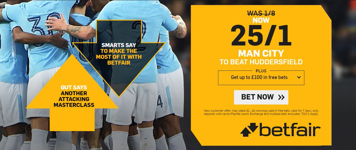 Betting With Betfair #ManCity To Win @ 25/1  ▪️Huddersfield vs Manchester City ▫️New Customers Enhanced Odds +£100 in free bets ▪️#PremierLeague #EPL #MCFC ▫️ Man City To WIN @ 25/1 Offer Below⬇️ 🔸http://ads.betfair.com/redirect.aspx?pid=2337581&bid=9861…  Max Bet £1 Winnings Paid in Free Bets 18+ T&Cs Apply🔼s