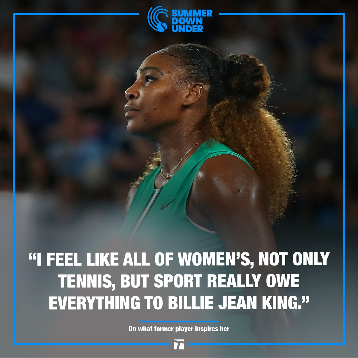 .@SerenaWilliams giving credit where credit is due. 👏👏 @BillieJeanKing #AusOpen
