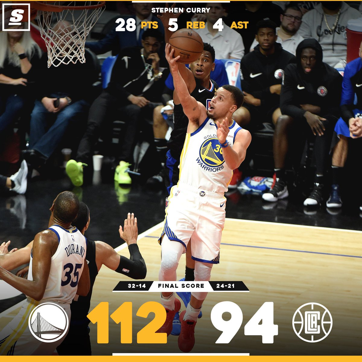 The @warriors  pick up the W in @boogiecousins' season debut. 💦 #DubNation