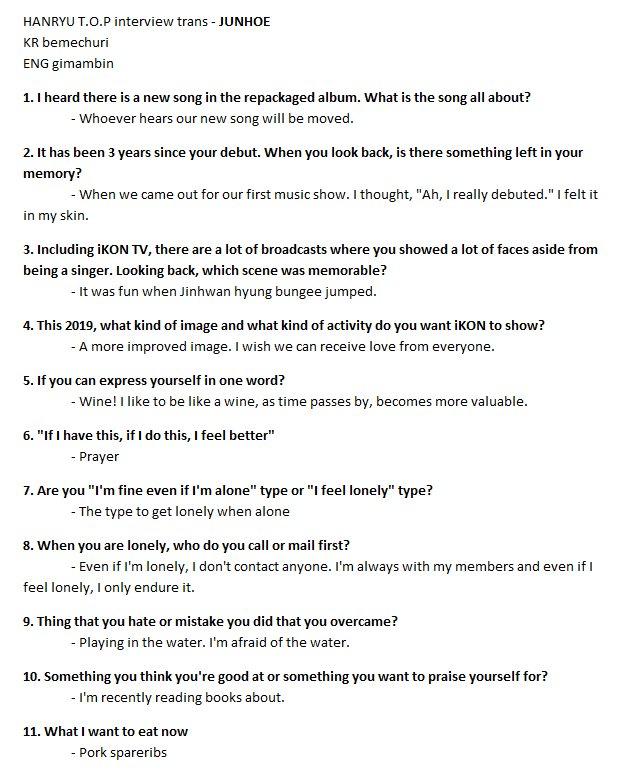 HALLYU TOP MAGAZINE - #JUNHOE interview trans #iKON