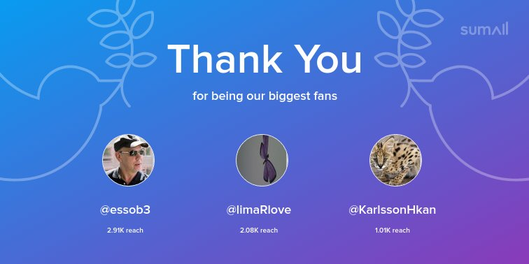 Our biggest fans this week: @essob3, @limaRlove, @KarlssonHkan. Thank you! via https://sumall.com/thankyou?utm_source=twitter&utm_medium=publishing&utm_campaign=thank_you_tweet&utm_content=text_and_media&utm_term=0bd15928ba3a7877f3fb611a …