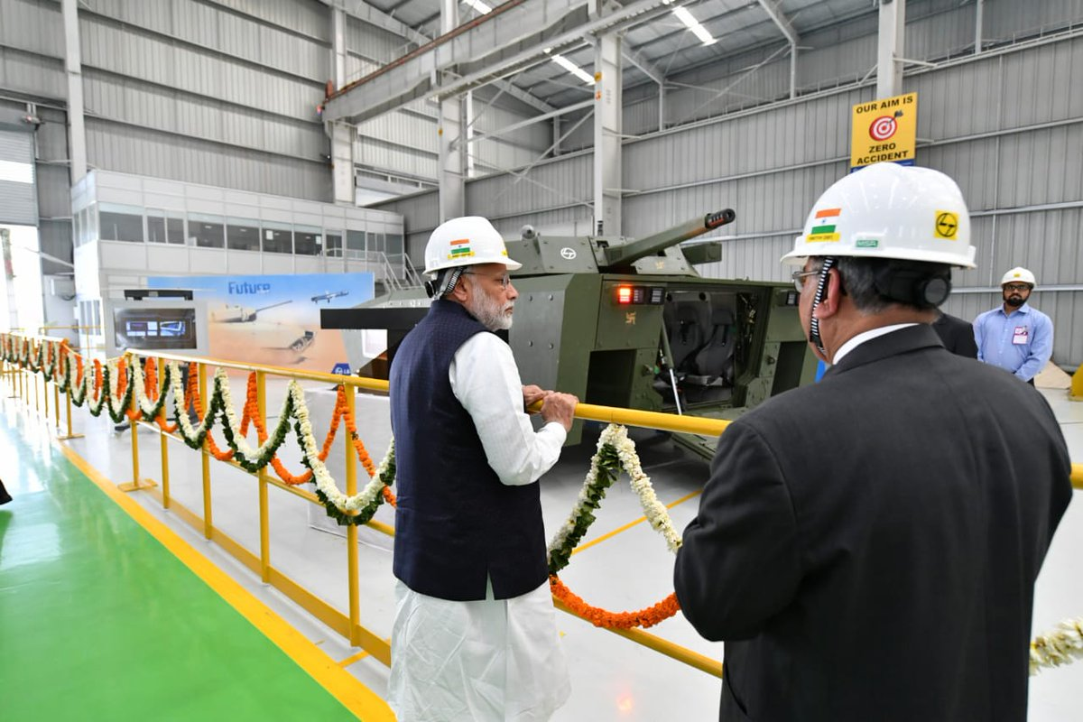 Had the privilege of inaugurating the Larsen and Toubro Armoured Systems Complex in Hazira, Gujarat.   Boosting 'Make in India' in the defence sector is our endeavour. I am glad that the private sector too is supporting this pursuit and making a valuable contribution.