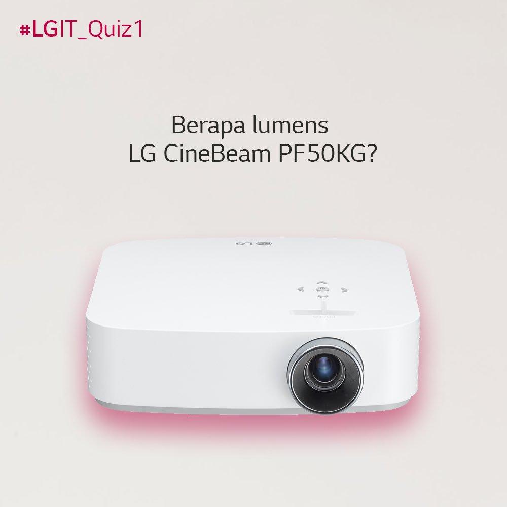 #LGIT_Quiz1 Tweet jawabanmu mention @lgitindonesia hastag #LGIT_Quiz1 #LGCineBeam #LGProjectorTerbaik dan #LGIndonesia jangan lupa mention minimal 3 temanmu.   20 pemenang akan mendapatkan pulsa.   Nah tunggu apalagi jawabanmu ditunggu hingga 25 Januari 2019.