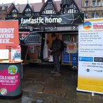 We're all set up in the Square, Shrewsbury. Come & see us for free energy advice & freebies as part of #BESW19. Grant advice available. @ShropCouncil #KeepShropshireWarm
