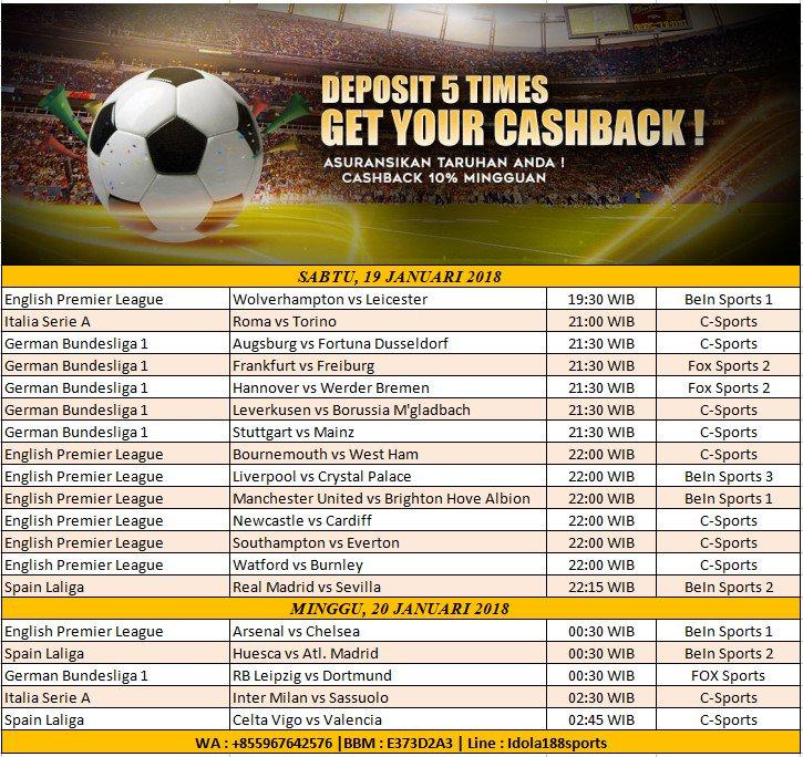 Idola188sports - Jadwal Bola Hari Ini  Asuransikan taruhan anda ! Cashback mingguan  Join now : www idola888 asia WA : +855967642576 |BBM : E373D2A3 | Line : Idola188sports  #ligainggris #epl #premierleague #taruhanbola #judibola #judionline