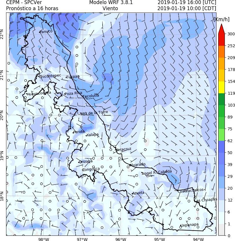 19/01/2019  Pronóstico de horas en las que el #FFrío29 cruzaría con rapidez este sábado 19 los siguientes puertos: Tampico: 9-10 horas Tuxpan: 11-12 horas Veracruz: 14-15 horas Coatzacoalcos: 20-21 horas Posterior a ello el viento del #NORTE se intensificaría. #WRF  ⚠️#AlertaGris