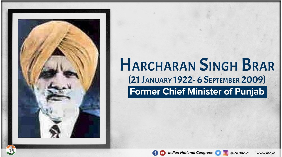 Today we remember Harcharan Singh Brar, former Chief Minister of Punjab.