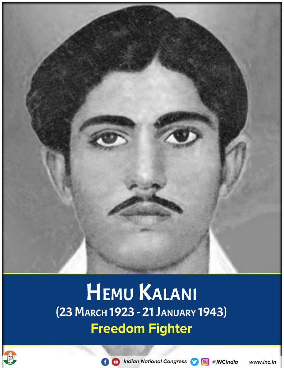Hemu Kalani was a revolutionary and freedom fighter during the Indian Independence Movement. He was one of the youngest revolutionaries to be martyred for the nation's freedom struggle.