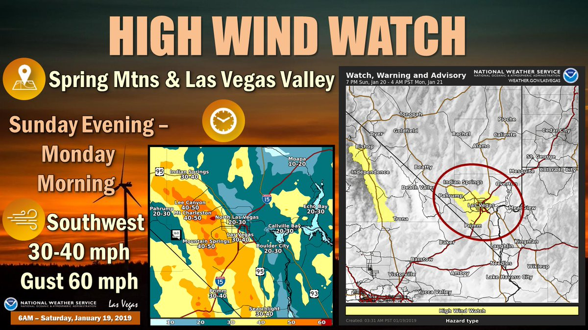 High Wind Watch 🌬⚠ 📍 Spring Mtns & Las Vegas Valley ⏰ Sunday Evening through Monday Morning 🌬🍃 Southwest 30-40 mph; Gusts to 60 mph 🚚 High-profile vehicles, be careful of crosswinds along I-15 🗑 Secure loose items    #VegasWeather#LasVegas#NvWx#HighWindWatch