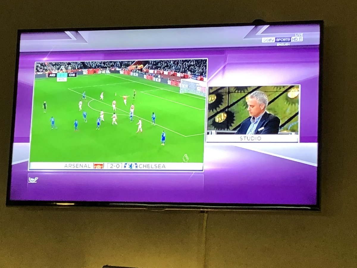 Amazing ... match is on but producers of @beINSPORTS are more excited by having Mourinho so they have him talking about himself - Not the match. It's there to see without commentary. @GaryLineker would never allow this on #MOTD!