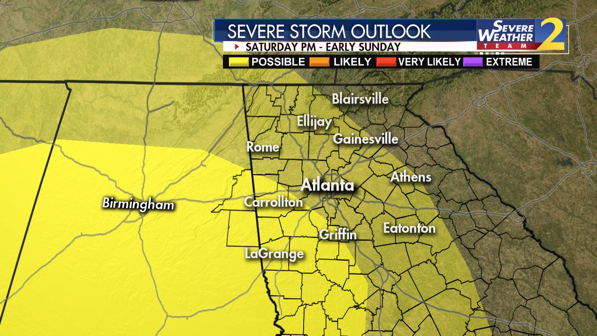Heavy rain, strong storms possible in parts of north Georgia later today 2wsb.tv/2RAK4Ic #StormWatchOn2