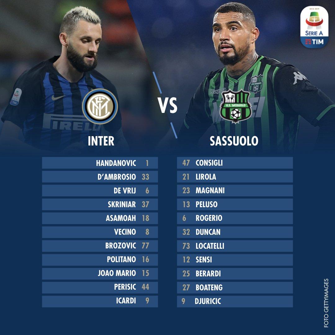 A San Siro si affronteranno Inter e Sassuolo!  🏟 Stadio Giuseppe Meazza ⚽️ #InterSassuolo 📺 20:30 @DAZN_IT  #SerieATIM