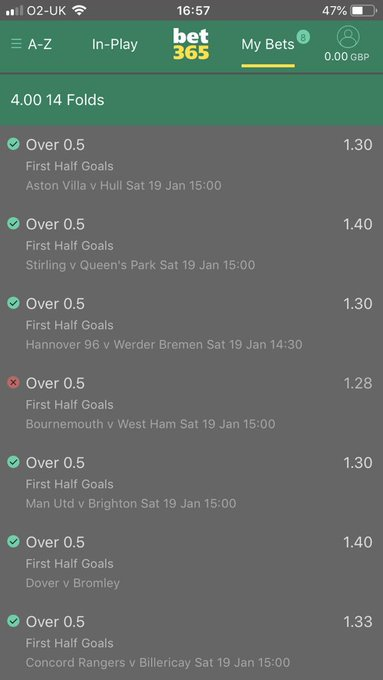 @DiscreteTipster Had a 14 fold for 240 very close just the West Ham game, back at it tomorrow ! Foto