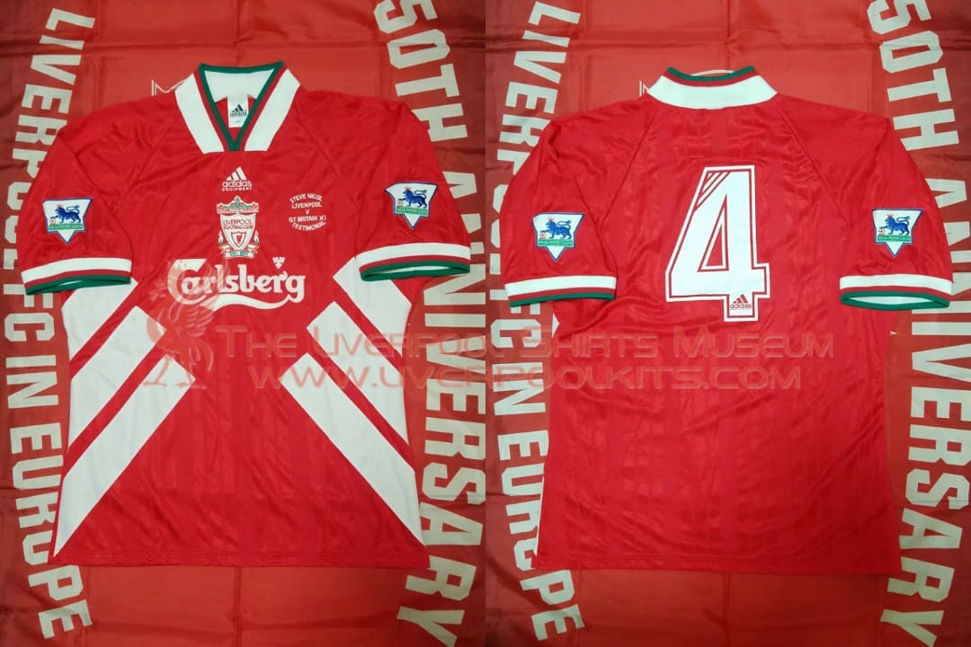 4668d1b3b Liverpool 1993 Steve Nicol Testimonial Match Worn Shirt of  SteveNicol61   LFC vs Great Britain XI