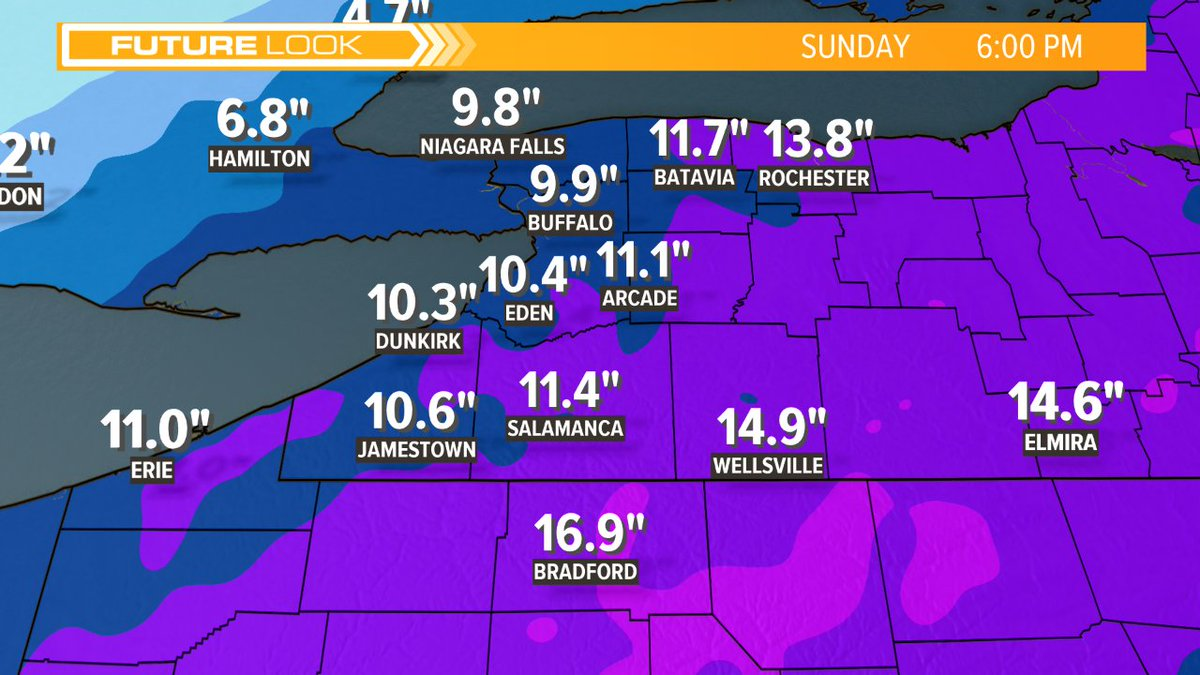 Already a quarter to half inch of snow downtown from initial disturbance. 'Main event' is from noon today to noon Sunday. Here are snow estimates from NOW UNTIL 6PM SUNDAY. So, about 8' to 12' for Buffalo and suburbs. Blowing snow tonight into tom'w. COLD!