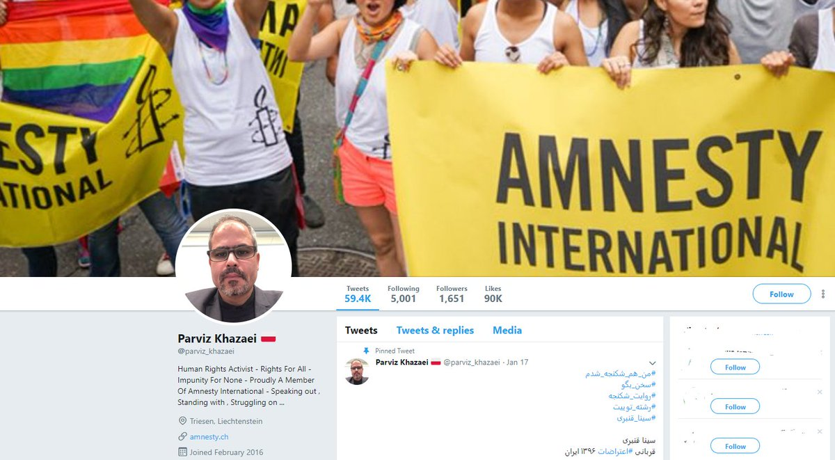 Another account on his list is @parviz_khazaei based on this account bio he is an amnesty employee and constantly reporting HR abuse in Iran. The fact that this account daily tweet rate is high is bc of Iranian regime's high rate of crimes. Not his fault.