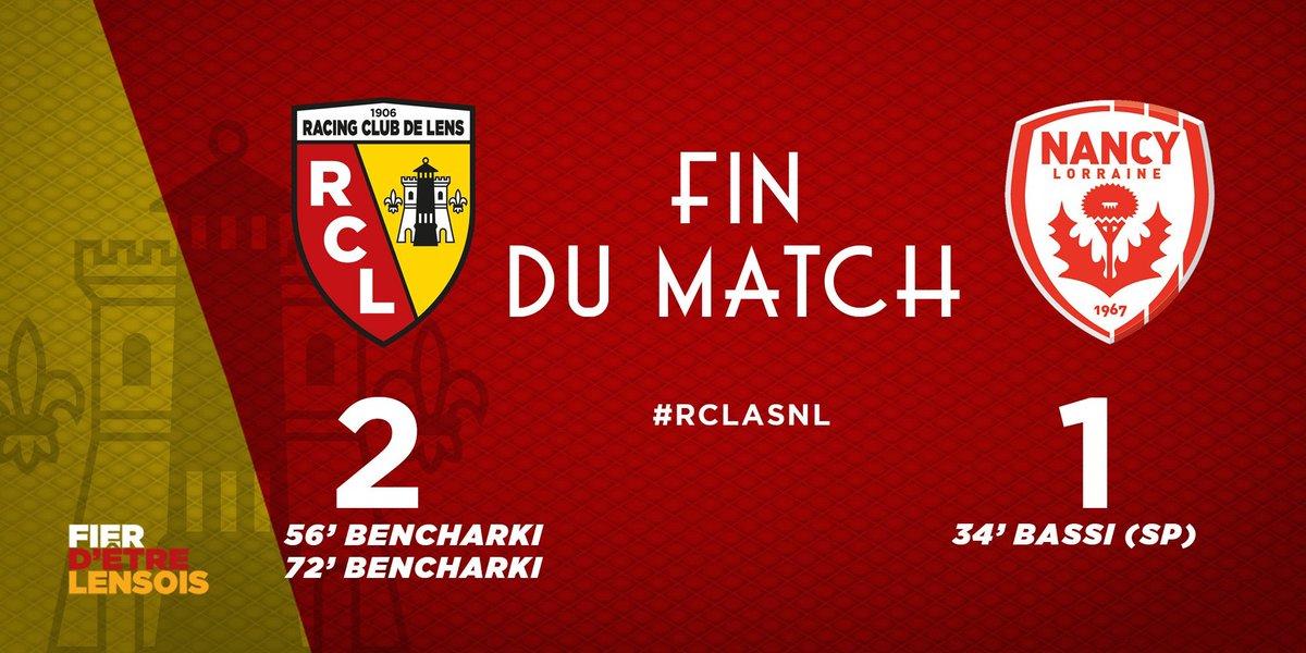 #Ligue2 | #RCLASNL   TERMINÉ !!  Lens s'impose 2 buts à 1 face à Nancy et remonte sur le podium avec 35 points.  Nancy reste dernier de Ligue 2 avec 13 points au compteur.
