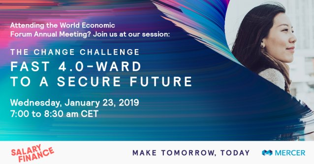 If you'll be in Davos, Switzerland next week, register for our session on how #4IR is changing how we live, work, and spend @Mercer #WEF19 #FutureOfWork #4IR http://bit.ly/2T1tZrz