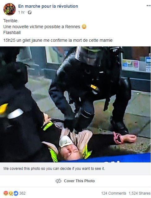 Plus de 1.500 partages pour ce post Facebook selon lequel une femme serait morte à Rennes ce samedi lors du rassemblement de 'gilets jaunes'. La préfecture d'Ille-et-Vilaine vient de démentir cette affirmation auprès de l'AFP ❌ https://t.co/gexluCkwD6 [1/3]