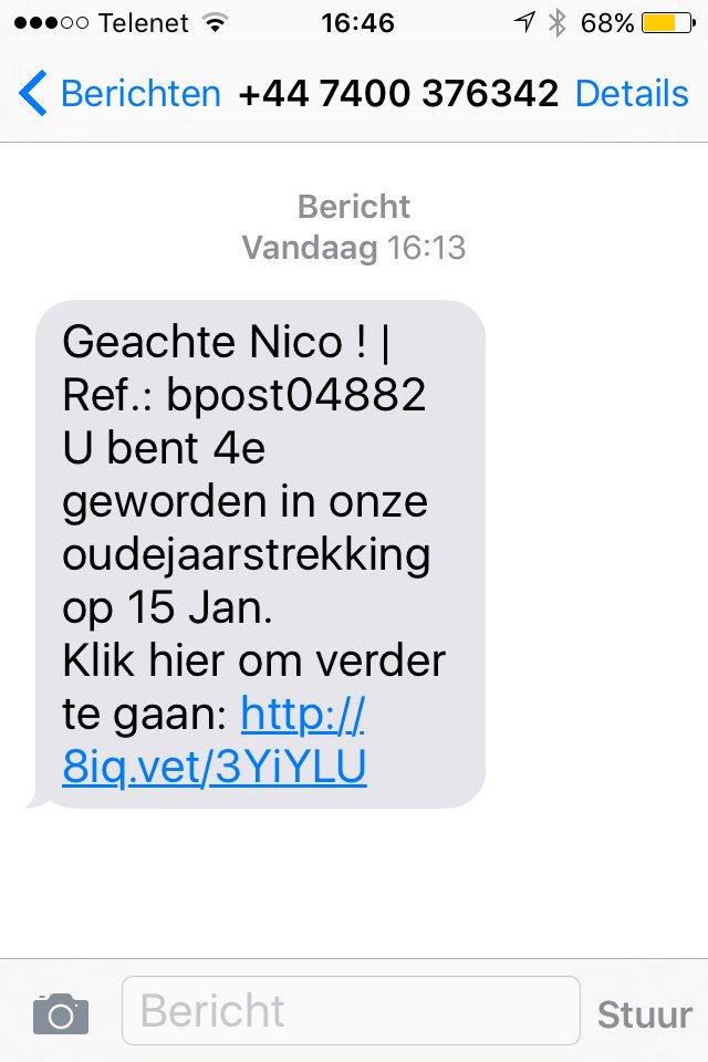 Ik kreeg net deze sms. Nieuwe vorm van oplichting via #bpost? Graag delen ter info a.u.b.! https://t.co/24KQoGpMub