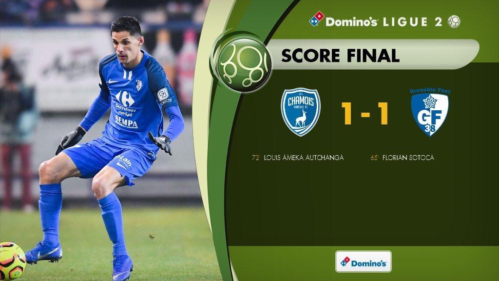 #Ligue2 | #NOGF38  Terminé !  Match nul 1-1 entre Niort et Grenoble en Ligue 2 cette saison !