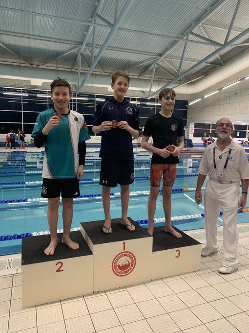 Boys Jamie (50m & 100m Free) and David (1500m Free) with their medals #teamgreen Foto