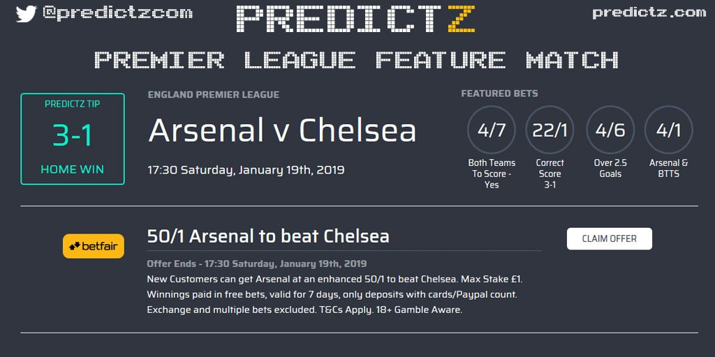 Here is everything you need to know for our Predictz #PremierLeague feature match between #Arsenal and #Chelsea!  To see more #bets, #offers and #stats click here ⏬ https://PrdctZ.Tips/ARSCHE  #ARSCHE