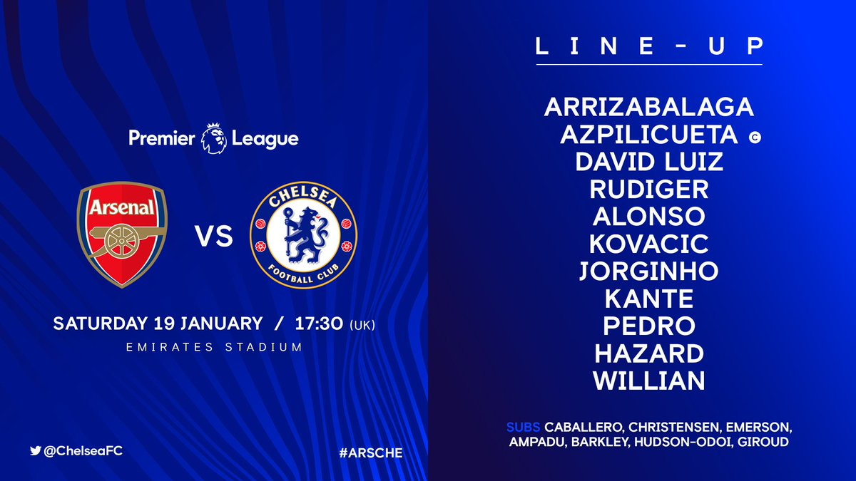 Chelsea team to play Arsenal...  #ARSCHE