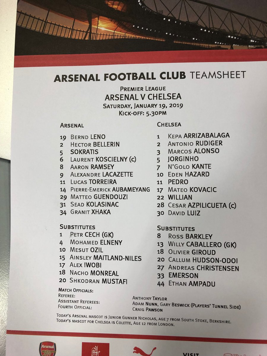 Arsenal v Chelsea team sheet. Looks like Arsenal back to a four, maybe diamond and two up? Ozil indeed on the bench...