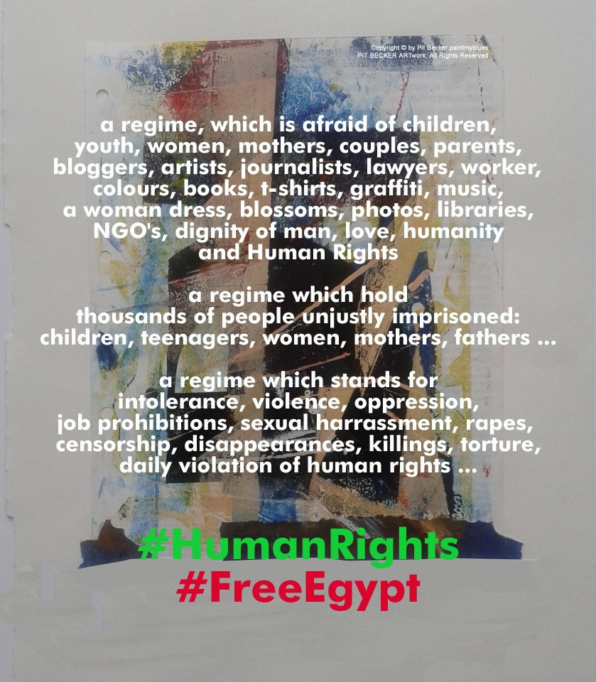 #Egypt #مصر  #NoMilTrials #لا_للمحاكمات_العسكرية_للمدنيين  #HumanRights #حقوق_الإنسان #STOPtorture #وقف_التعذيب #JournalismIsNotAcrime #NoProtestLaw Freedom for all unjustly imprisoned in Egypt! #NOcensorship #NOdictatorship  #DerechosHumanos #DirittiUmani #DroitsDelHomme