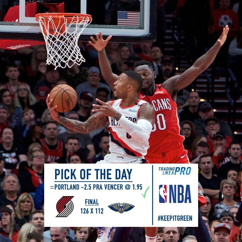 "Mais uma cesta de ""chuá"" 💥 🏀 Entrada e resultado para a rodada da #NBA: 18/01 http://bit.ly/tlptips74 #keepitgreen #punter #tradingesportivo #picks #tips"