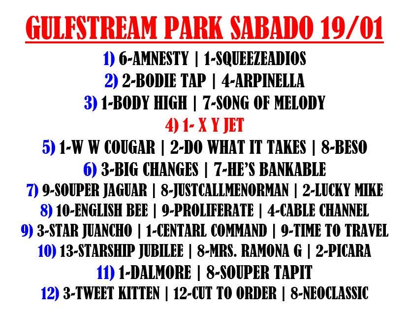 Lo que me gusta para las carreras de hoy sábado en GULFSTREAM PARK, Suerte!  #Datos #Picks #FreePicks #RainbowSix #HorseRacing #Miami #hipismo #Datos #Carreras #Venezuela #Caracas #Miami #19Ene #FelizSabado