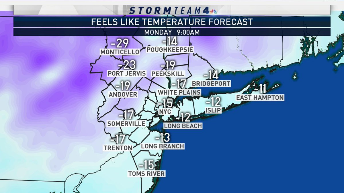 BRUTAL cold and a flash freeze! Make sure to clean off any snow and ice early Sunday, because by Monday morning everything will be frozen solid #NYC #cold #weather  #snow
