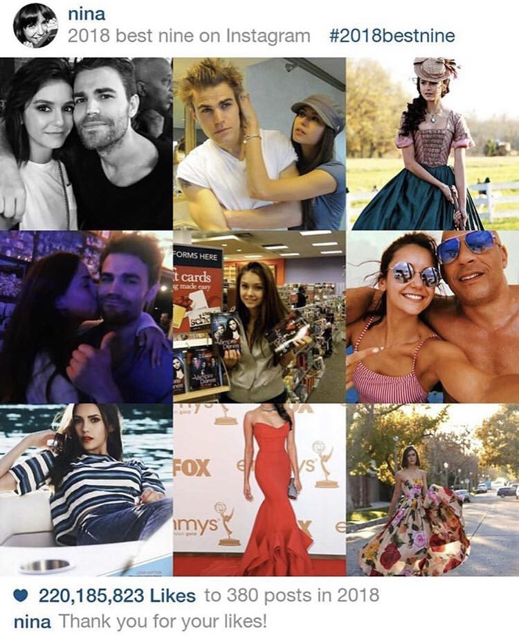 Nina's best nines of 2018, most of them featuring Paul. Again...  I love their friendship. Hopefully we'll see more of them together in 2019! Love that caption too.  #NinaDobrev #PaulWesley #Dobsley #Stelena #2018BestNine pic.twitter.com/ZtWJbp7aYL