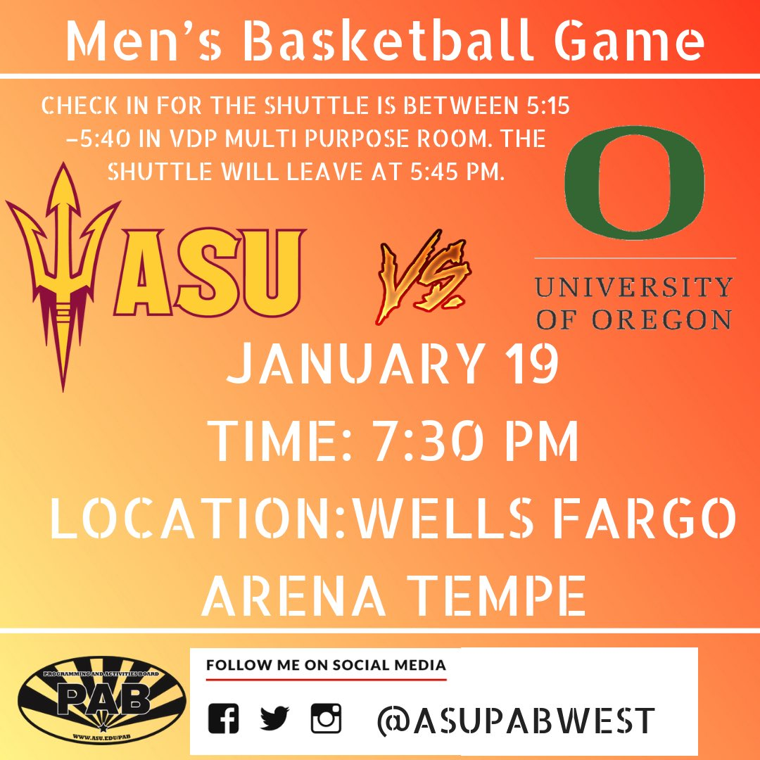 Come out to the game this Saturday ASU Sundevils will play University of Oregon at the Wells Fargo Arena 7:30 PM!! WHITE OUT  #rp #asutempe #asuwest #asuevent #Basketball #backtoschool #asu #sundevil #pab #music #festival #comingsoon #staytuned #ballsohard #asuwest #asupab