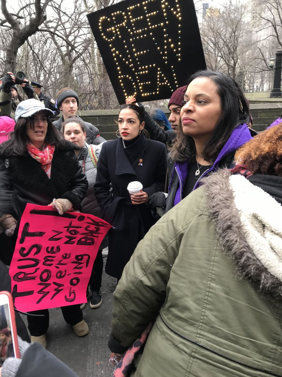 Rep. Alexandria Ocasio-Cortez is with women's march protesters in New York. Follow live updates from the marches: https://t.co/g8VNwueyvy