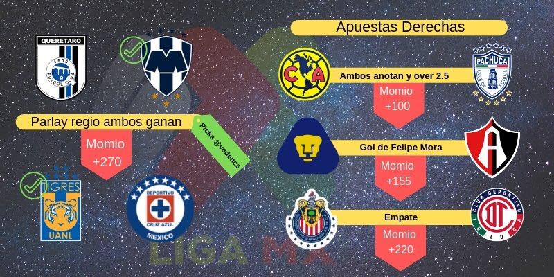 SEGUIMOS ‼️⚽️🇲🇽 Para la jornada 3 de la @LIGABancomerMX , estos son los #Picks  de nuestro asesor de apuestas @vedencs para que elijan lo que sea de su agrado ¡SUERTE PARA TODOS!