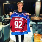 Jersey swap with @GabeLandeskog92 before the @Avalanche vs @LAKings game later today! Nice to meet you and good luck!! 🏒🇸🇪💯 #ME7