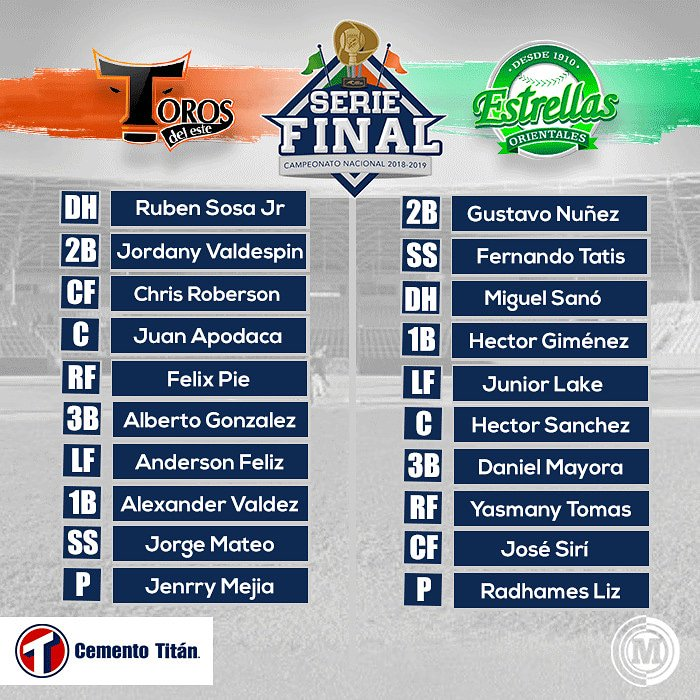 #MarcadorTitan Alineaciones titulares para el Juego 3 de la Serie Final entre Toros 🐂 🆚 Estrellas 🌟 ¿Para tí quién gana?