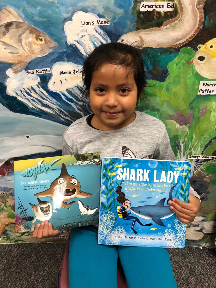 This 1st grade student loves reading books about sharks! Check out Norman the Nurse Shark ⁦<a target='_blank' href='http://twitter.com/Sharks4Kids'>@Sharks4Kids</a>⁩ and Shark Lady The True Story of How Eugenie Clark Became the Ocean's Most Fearless Scientist <a target='_blank' href='http://search.twitter.com/search?q=KWBPride'><a target='_blank' href='https://twitter.com/hashtag/KWBPride?src=hash'>#KWBPride</a></a> ⁦<a target='_blank' href='http://twitter.com/karmstrongKWB'>@karmstrongKWB</a>⁩ ⁦<a target='_blank' href='http://twitter.com/KWBwelsh'>@KWBwelsh</a>⁩ ⁦<a target='_blank' href='http://twitter.com/KWBLibrary'>@KWBLibrary</a>⁩ <a target='_blank' href='https://t.co/Oc3fMxwGag'>https://t.co/Oc3fMxwGag</a>