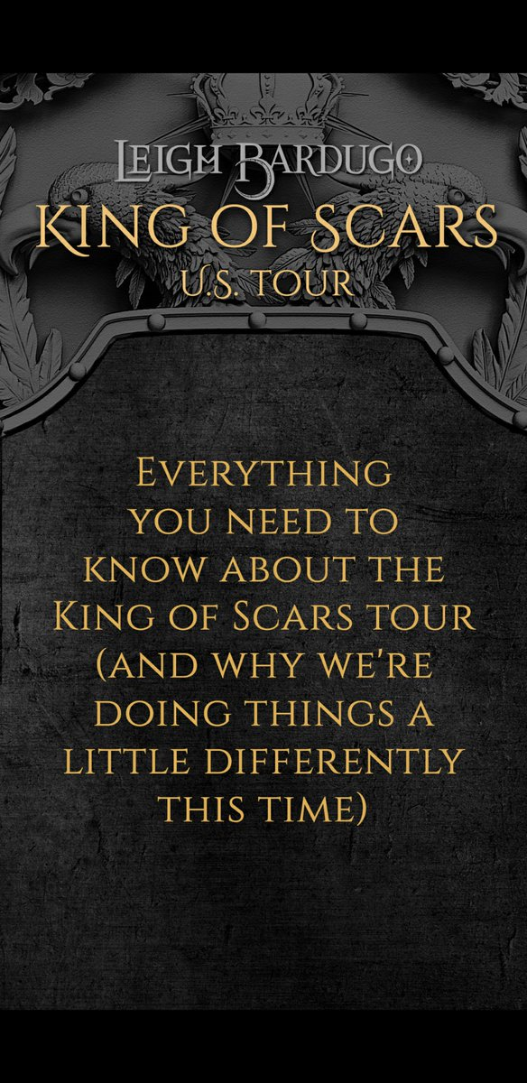 Just put a loooong story up on my IG about what you can expect from the #KingofScars tour stops + info on where to get signed books 🖤