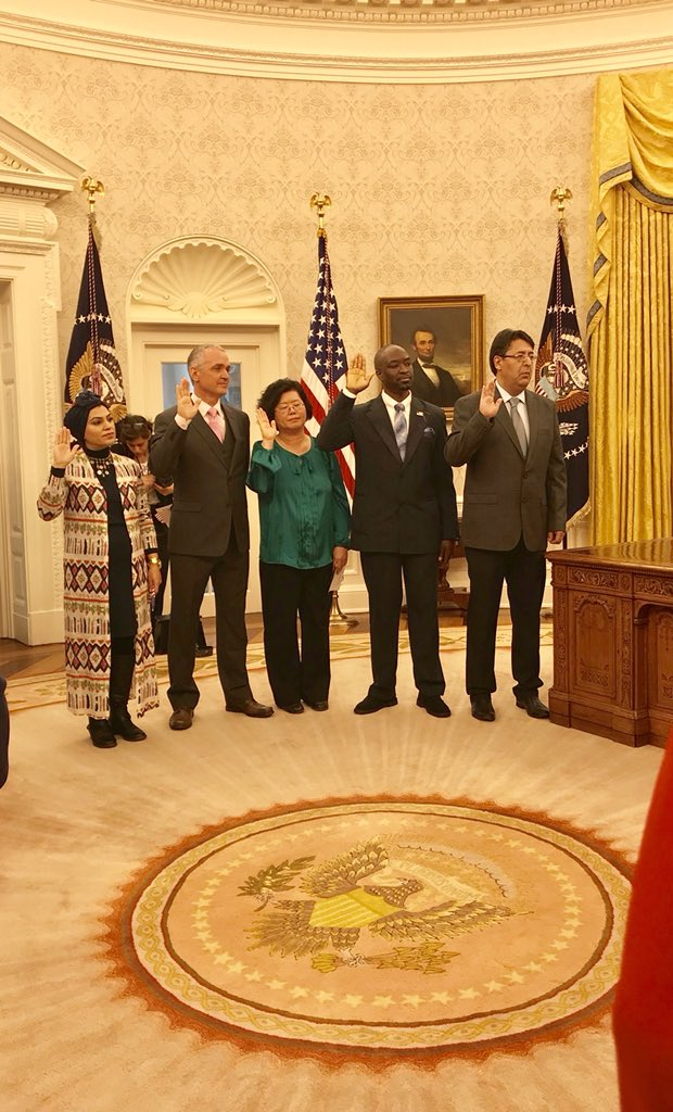 Powerful moment to watch these five people become U.S. citizens in the Oval Office.