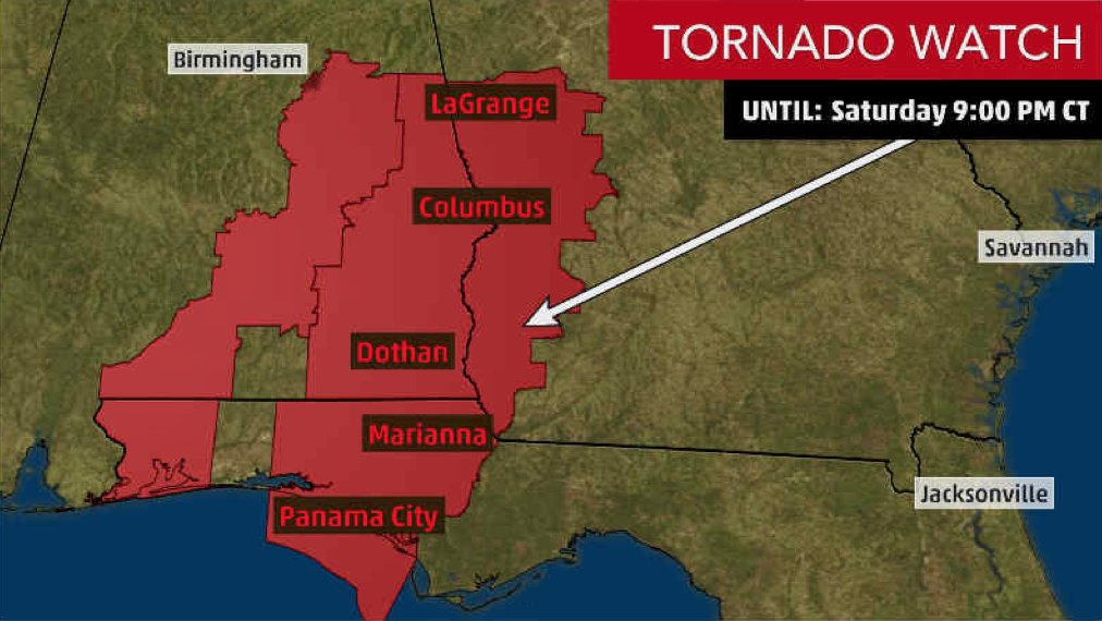 The Weather Channel On Twitter A Tornado Watch Has Been Issued For Eastern Alabama Southwestern Georgia And The Central Florida Panhandle Through 10 Pm Et 9 Pm Ct A Few Isolated Tornadoes Are